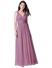 21bf728a88c Ever-Pretty Vestido de Dama de Honor Fiesta Largo para Mujer Cuello V en Tul