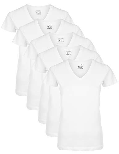Berydale Für Sport & Freizeit, V Ausschnitt Camiseta, Blanco Weiß), Small, Pack de 5