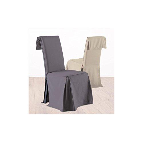 Fodera coprisedia, rivestimento per sedia - Altezza regolabile - 100% cotone - Color GRIGIO ANTRACITE