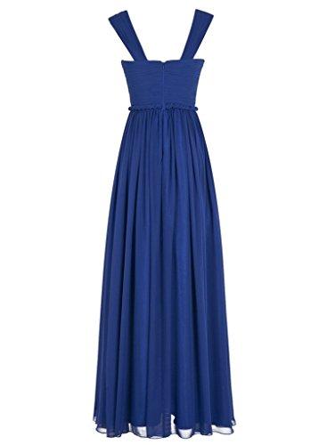 La_mia Braut Einfach Chiffon Zwei-Traeger Brautjungfernkleider Abendkleider Partykleider Lang A-linie Neuheit Hell Rosa