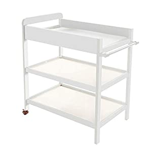 Baby Changing Table White Portable Wood Diaper Station with Safety Fence & 2 Wheels, 3-Shelf Baby Cot Dresser   7
