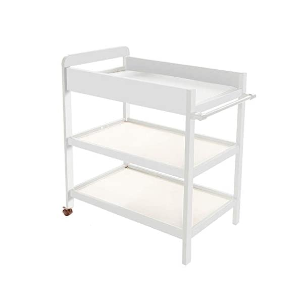 Baby Changing Table White Portable Wood Diaper Station with Safety Fence & 2 Wheels, 3-Shelf Baby Cot Dresser GUYUE 2 Silent caster. Safety rails: 10.5cm super high fence. Strong and sturdy wood construction: Pine. 1