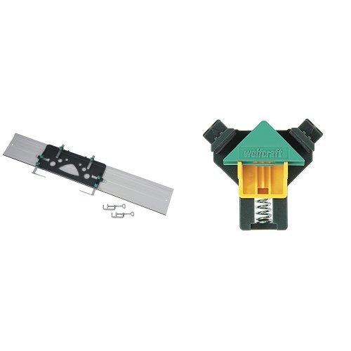 Wolfcraft 6910000 - FKS 115 - Guía soporte de corte para sierra circular 1150 x 220 x 3 mm + Mordaza Angulo Doble Ajust. 3051000