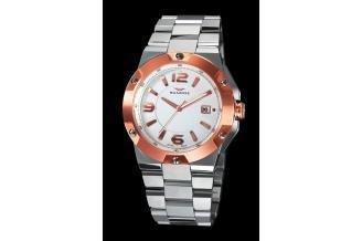 Montre Sandoz acier bicolore IP Rose Homme 81281-50suisse