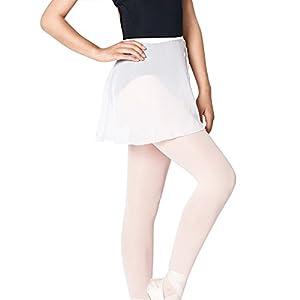 Bezioner Ballettrock Wickelrock Tanz Rock aus Chiffon Mit Taille Krawatte für Mädchen und Damen Weiß L