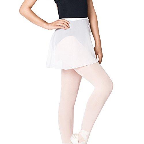 Bezioner Kinder Ballett Wickelrock Chiffon Damen Tanz Rock Mit Taille Krawatte Weiß M