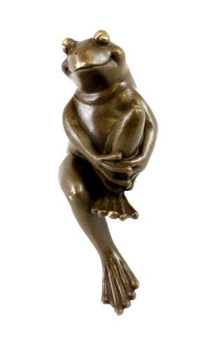 Kunst & Ambiente - Wiener Bronze - Lustige Tierfigur - Sitzender Frosch Figur - mit Bergmann Stempel - Bronzefigur - Frosch Skulptur