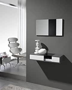 Meuble d'entrée moderne + miroir AGOSTINO, disponible en 2 coloris Blanc et Gris cendré