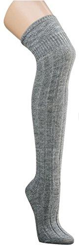 krautwear Damen Mädchen 80cm Lange Kniestrümpfe Overknees Gestrickte Strümpfe Handgekettelt Weich Wärmend Gute Dehnung Guter Halt Schwarz Bordeaux Rot Wollweiss Grau (1x grau 35-38)