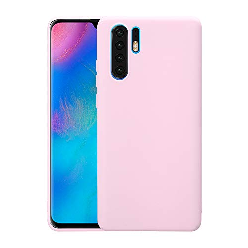 Case für Huawei P30 Pro 2019 Handyhülle 6.4 Zoll Ultra Dünn Cover Schutzhülle aus TPU Extra Slim Leicht Pink Pink Gummi Case