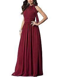 6b784913cdee Aox Women Fashion Long Sleeve Crochet Lace A line Chiffon Maxi Dress Lady  High Waist Party