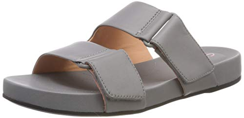 Clarks Damen Bright Deja Pantoletten, Grau (Grey Leather), 40 EU - Clarks Pantoletten Für Damen