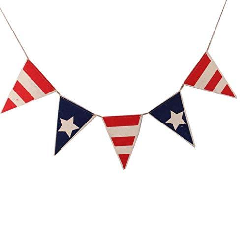 Culer 1 Stellen Patriotic Pennant Banner Burlap Flagge Bunting Banner Für Independence Day Festival Partydekoration - Usa Bunting