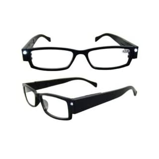Black Illuminating LED Glasses 3x Magnification - Great for crafting, reading or any hands free task.