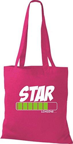 ShirtInStyle Stoffbeutel Baumwolltasche STAR Loading Farbe Pink fuchsia
