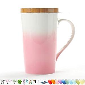 TEANAGOO M066 Bone China Tee-Becher mit Diffusor und Deckel, 510 ML, Pink,...