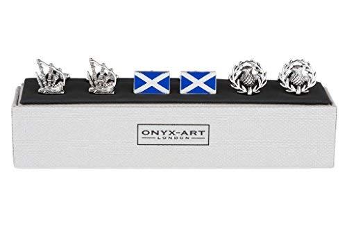 Onyx - Art London Set von 3Schottland Flagge Schottische Distel Dudelsack Herren Schlepplift Manschettenknöpfe (Schottische Manschettenknöpfe)