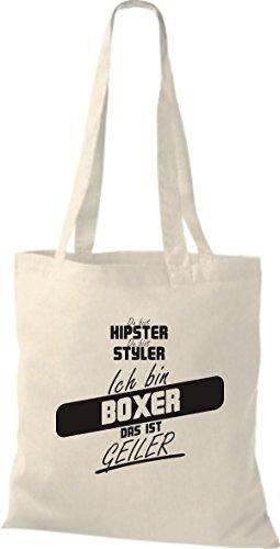 Shirtstown Stoffbeutel du bist hipster du bist styler ich bin Boxer das ist geiler natur