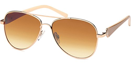UVprotect® Damen Aviator style Sonnenbrille metall Rahmen gold dunkelbraun W21-3