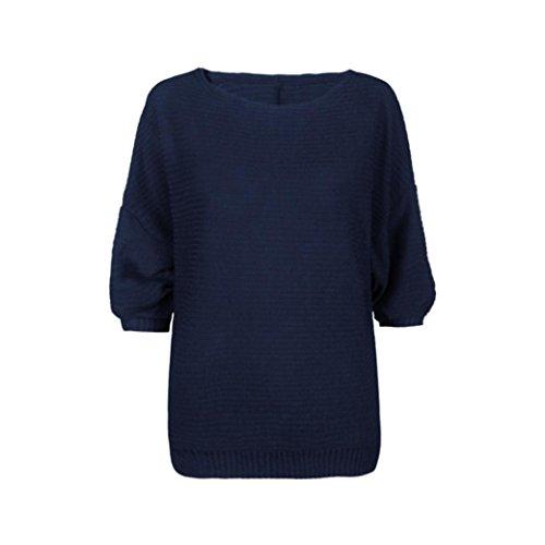 Koly_Le donne pipistrello corte Maglia allentato maglione ponticello Tops Maglieria blu navy