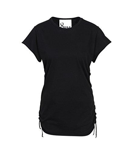 8PM Damen Shirt Aruba mit Raffung Schwarz 009 schwarz