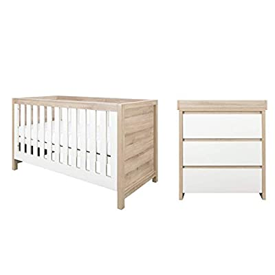 Tutti Bambini Modena Nursery Furniture Set (2 Piece) | Convertible Baby Cot Bed and Chest of Drawers Changer | Solid Wood Furniture (Oak & White)