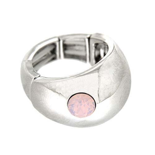 Opal Ring Kostüm - Sweet Deluxe Stretchring Tila, Silber/Rose Opal I Damen-Ring I Mode-Schmuck Ring für Frauen I Ringe Rings für Mädchen I modisches Design-Accessoires
