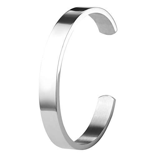 ZystaEdelstahl Armband Männer Frauen Armreif Damen Herren Armspange Silber Gold Schwarz Verstellbar (Silber-Herren)