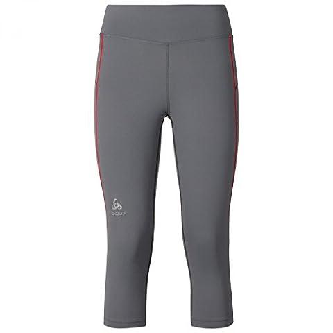 ODLO Women's 3/4 Sliq Tights, Odlo Steel Grey/Bittersweet, X-Large