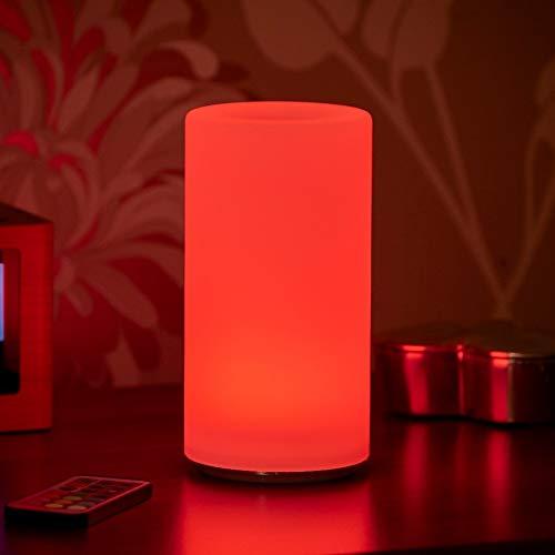 Auraglow Lámpara de Mesa Con Cable Inalámbrico con Luz LED Recargable Cambiante de Colores y Blanca (PILLAR)