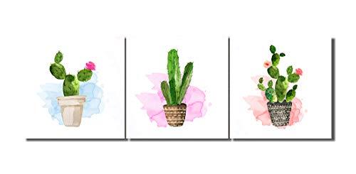 Planta,maceta,cactus,verde blanco_Cuadro de pintura al óleo moderna Impresión de la imagen en la lona Arte de la pared para la sala de estar,Dormitorio,decoración del hogar,3 piezas 40x40,con marco