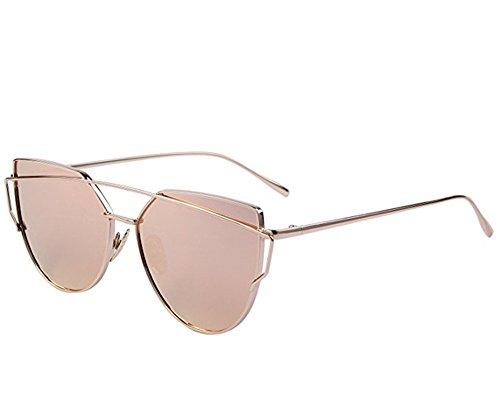 YOUFAN Sonnenbrille, Männer Frauen Klassiker Flieger Voll Spiegel Objektiv Sonnenbrille Metall Rahmen