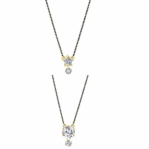 Archi Collection Jewellery Combo of Gold & Rhodium Plated American Diamond Mangalsutra Pendant with Chain for Women