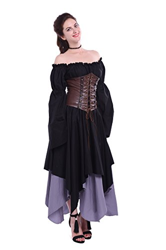 Women's Off Shoulder Renaissance Medieval Gypsy Dresses with Corset Irregular Victorian Queen Costume Fancy Dress steampunk buy now online