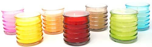 6er Pack Citronella Mehrfarbige Glasgläser Mückenabwehr Gemüsesorten Wachs und 18 Stunden Brenndauer je Kerze Paraffinfrei