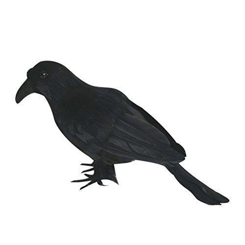Tinksky Schwarze Feder Krähen, künstliche Krähen, Vogel, Rabe, Requisite, Dekoration für Halloween