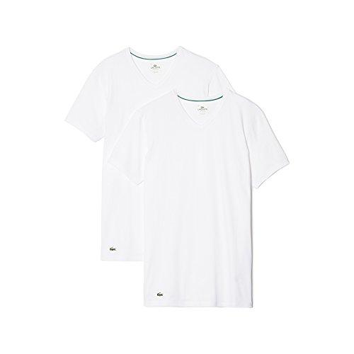 Lacoste Herren T-Shirts Unterhemden V-Neck im 2er Pack 148322 (weiß/weiß, XL) (Herren Lacoste Baumwolle T-shirts)