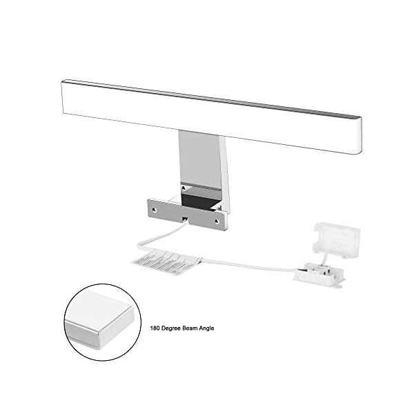 Lámpara de Espejo Baño LED 5W 230V 500lm Aourow,a Prueba de Agua IP44 30cm,3 en 1,Fije en el Espejo +en el Gabinete+en…