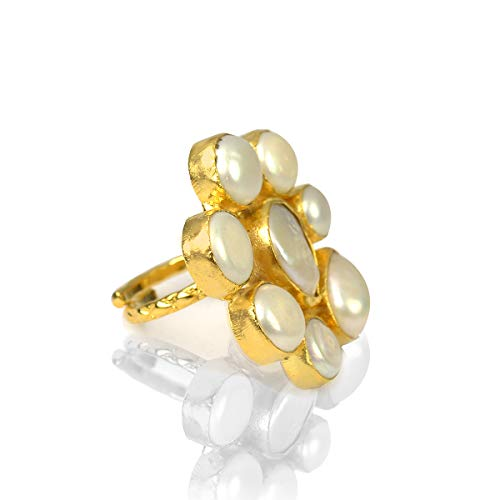 Reiki Crystal Products Natural Pearl Stone Ring Adjustable Finger Rings Copper Rings for Women (Color : White & Golden)
