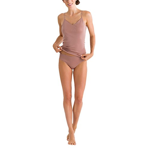 Hanro Damen Cotton Seamless Midi Slip Braun (Soft Almond 1826)