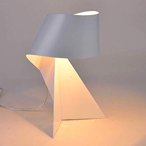 Oevina Modern Led Schmiedeeisen Tischlampe, einfache kreative Kunst Origami Dekoration Nachttischlampe Spray Metall Nachtlicht Lampe Lampe für Lesen Studenten-weiß enthalten (Color : White) (Spray-farbe Kunst)