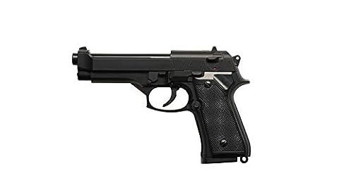 HFC HA118 Airsoft Spring Federdruck Pistole in Schwarz, Nachbildung des Beretta M9, unter 0.5 Joules, kein Hop up, GRATIS 2000 BULLDOG BBS 0.20G