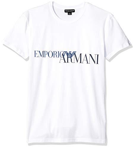 Emporio Armani Herren T-Shirt - Crew Neck, Rundhals, Stretch Cotton, Logo Print Weiss M (Medium)