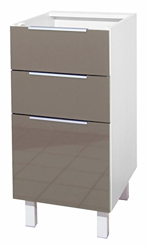 Berlenus CT4BT - Armario para bajo de Cocina (3 cajones, 40 x 52 x 83 cm), Color Gris