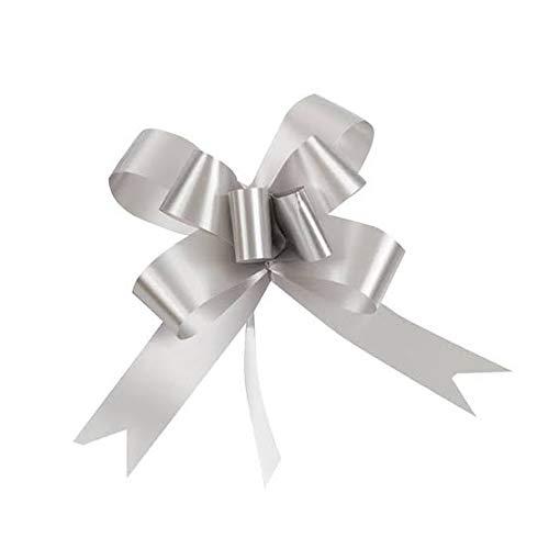 SHATCHI 30 mm/3 cm lazo grande para pared de fiesta, envoltorios de regalo, árboles de Navidad, boda, cestas de cumpleaños decoración floristería 30 unidades, color plateado