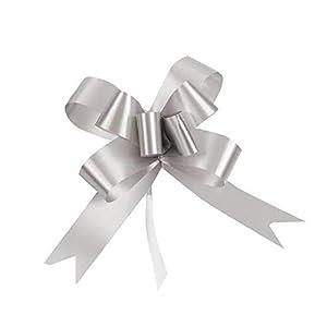 SHATCHI - Lazos grandes de 30 mm/3 cm para pared de fiesta, envoltorios de regalo, árboles de Navidad, bodas, cestas de cumpleaños, decoración de flores, 20 unidades, color plateado