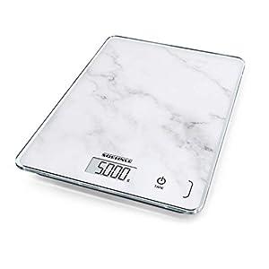 Soehnle Page Compact 300 Marble digitale Küchen-/elektronische-/Haushaltswaage, Marmormustern Gewicht bis zu 5 kg, mit patentierter Sensor-Touch-Funktion, inkl. Batterien, grau