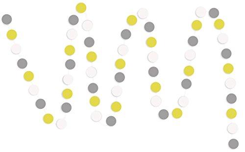 FiveSeasonStuff Hängende Papier Girlanden für Hochzeit, Baby-Dusche, Geburtstag, Jahrestag, Party, Haus, Kinderzimmer, Restaurant, Schule, Bühne, DIY (Runde, Grau & Weiß & Gelb, 2pcs)