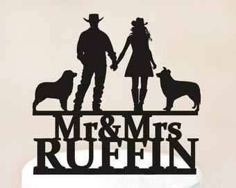 Personalisierte Hochzeitstorte Topper Cowboy Country Western Country Cowboy mit Hund Hochzeit Geschenk Idee Jahrestag Party Dekoration