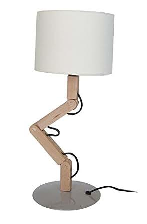 Tosel 63651 Lampe de Chevet Geri Abat-Jour Coton 60 W E27 Bois Naturel